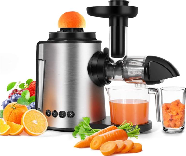 Juicer Slow Masticating Juicer Machine 2 in 1 Citrus Juicers Antioxidant Cold Press Juicer